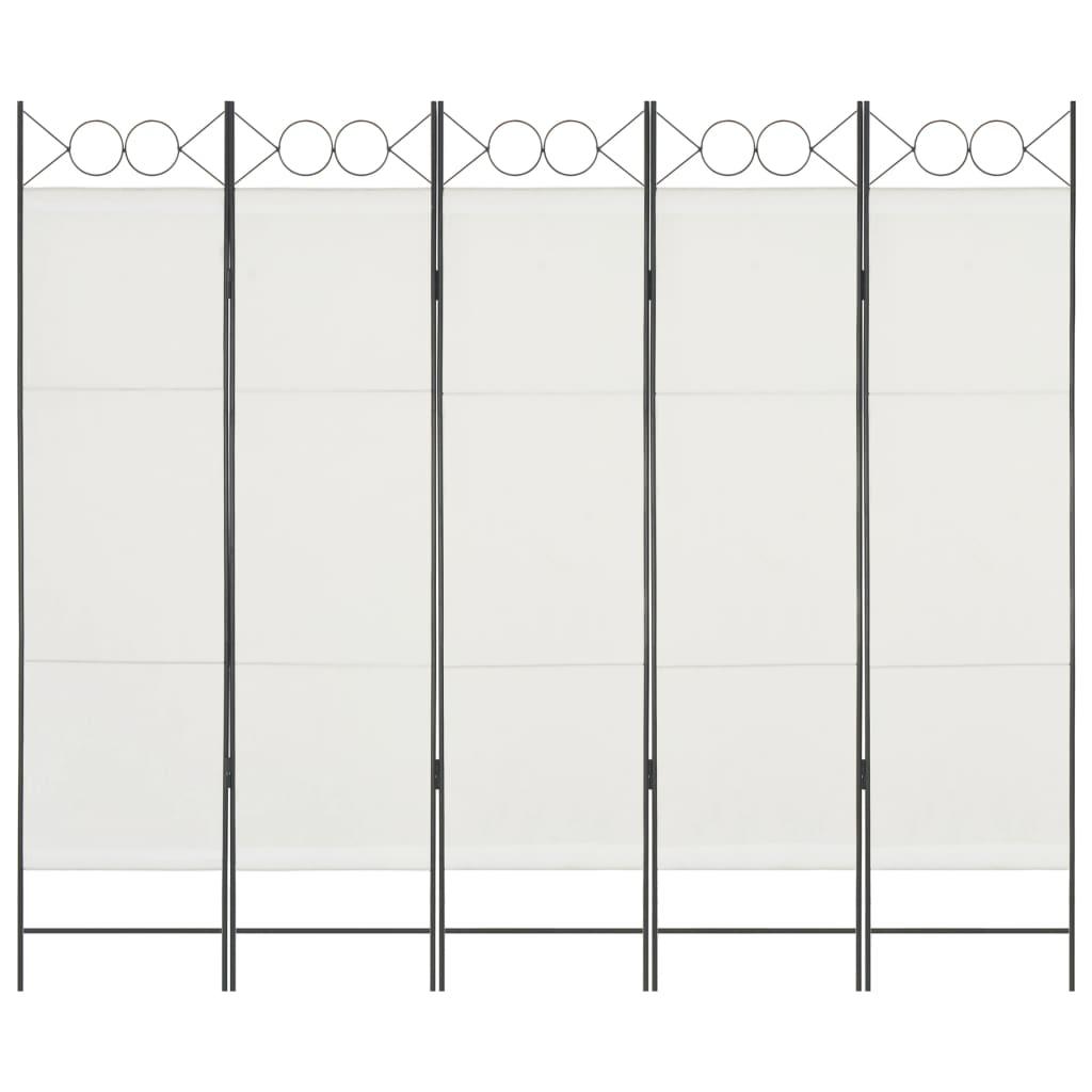 vidaXL Paravan de cameră cu 5 panouri, alb, 200 x 180 cm vidaxl.ro