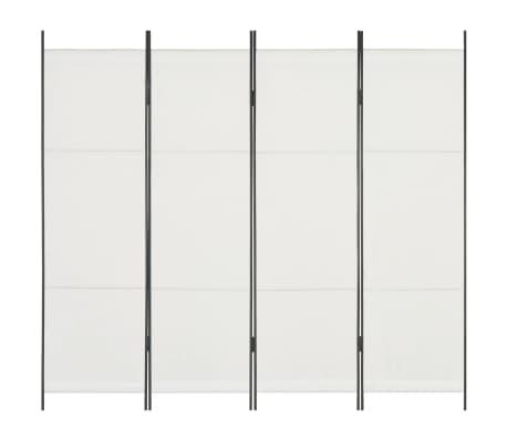 vidaXL Paravan de cameră cu 4 panouri, alb, 200 x 180 cm