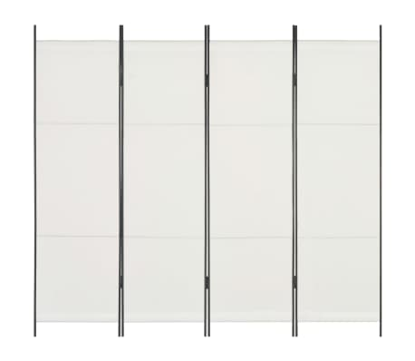 vidaXL 4dílný skládací paraván bílý 200 x 180 cm