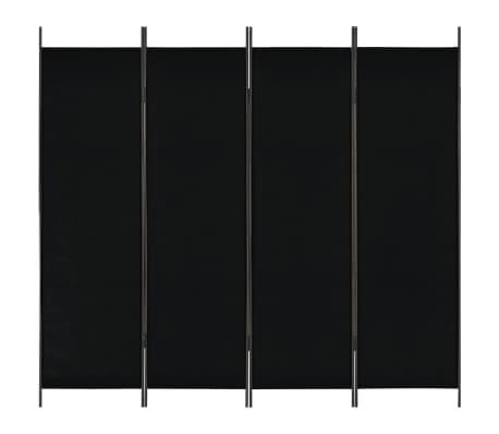 vidaXL Divisória de quarto com 4 painéis 200x180 cm preto
