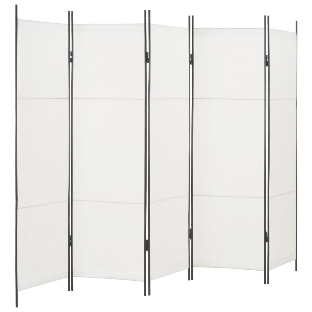 vidaXL 5dílný paraván bílý 250 x 180 cm