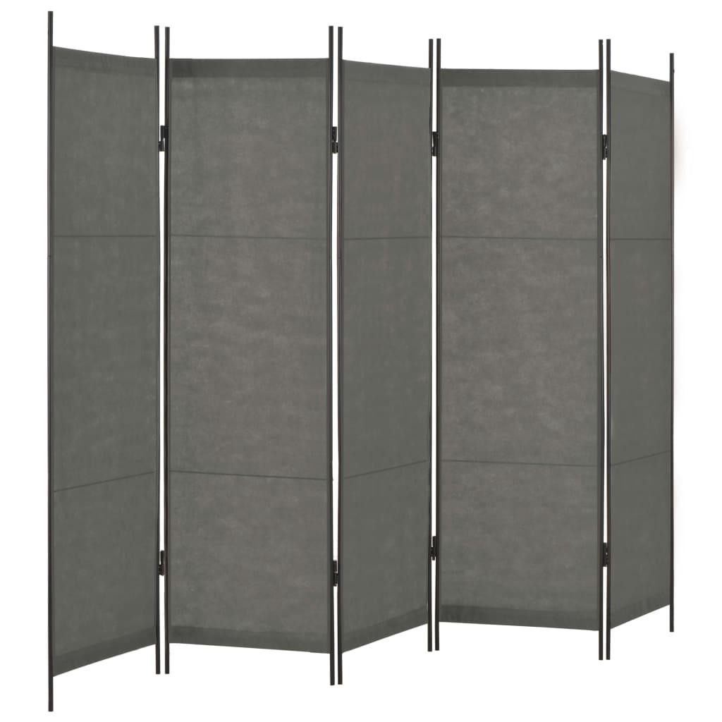 5dílný paraván antracitový 250 x 180 cm
