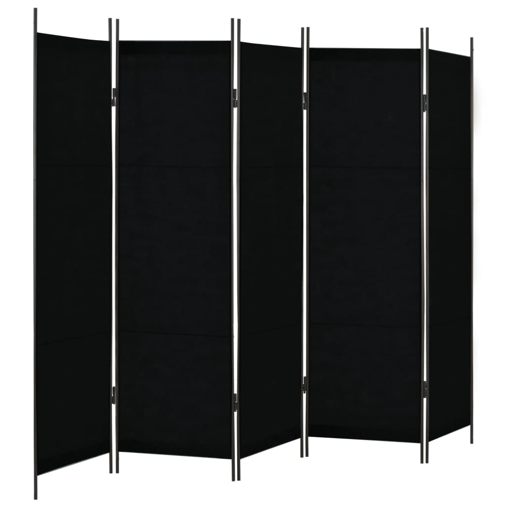 vidaXL Paravan de cameră cu 5 panouri, negru, 250 x 180 cm vidaxl.ro