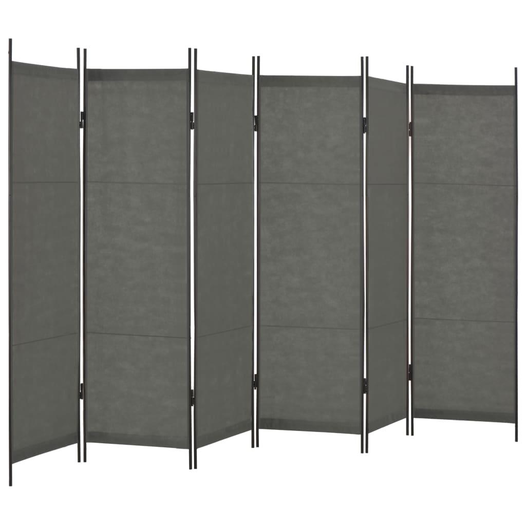 6-tlg. Raumteiler Anthrazit 300×180 cm