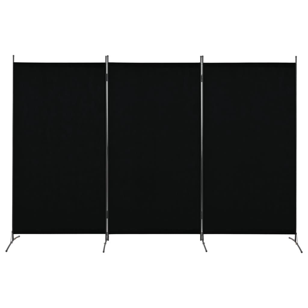 vidaXL 3dílný paraván černý 260 x 180 cm