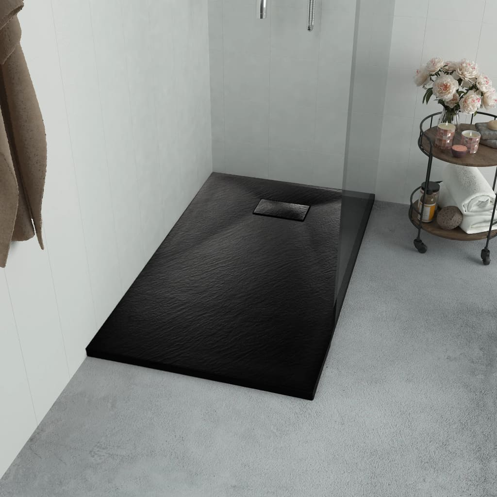 vidaXL Cădiță de duș, negru, 90 x 80 cm, SMC poza 2021 vidaXL