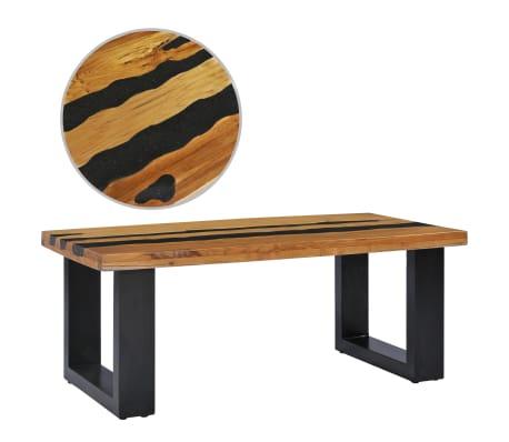 vidaXL Kavos staliukas, 100x50x40 cm, tikmedžio mediena ir lavos akmuo[1/14]
