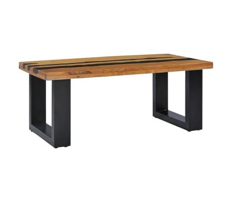 vidaXL Kavos staliukas, 100x50x40 cm, tikmedžio mediena ir lavos akmuo[2/14]