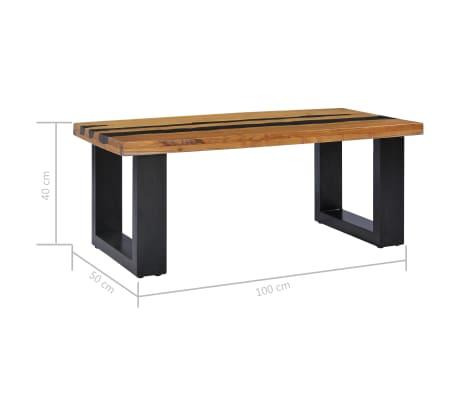 vidaXL Kavos staliukas, 100x50x40 cm, tikmedžio mediena ir lavos akmuo[9/14]