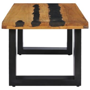 vidaXL Kavos staliukas, 100x50x40 cm, tikmedžio mediena ir lavos akmuo[4/14]