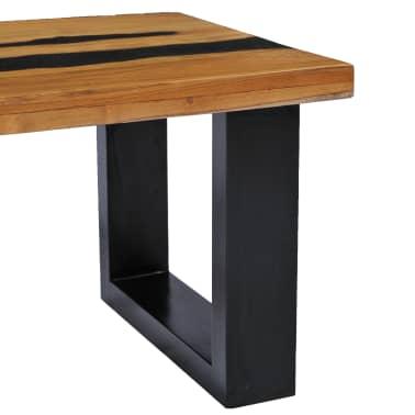 vidaXL Kavos staliukas, 100x50x40 cm, tikmedžio mediena ir lavos akmuo[5/14]
