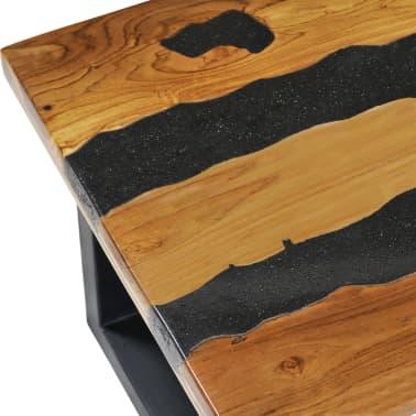 vidaXL Kavos staliukas, 100x50x40 cm, tikmedžio mediena ir lavos akmuo[7/14]