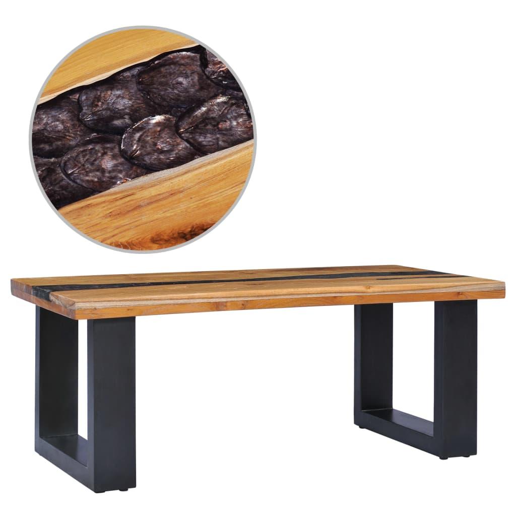 <ul><li>Farbe: Mehrfarbig</li><li>Tischplattenmaterial: Fein geschliffenes Hartholz aus Teakholz mit klarer Oberfläche + violettes Polyresin mit gebrochenen Muscheln</li><li>Basismaterial: Massives Mangoholz mit schwarzem Finish</li><li>Abmessungen: 100 x 50 x 40 cm (L x B x H)</li><li>Tischplatten-Stärke: 4 cm</li><li>Komplett handgefertigt</li></ul>