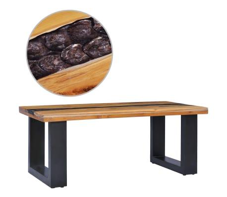 vidaXL Kavos staliukas, 100x50x40 cm, tikmedžio mediena ir sint. derva[1/13]