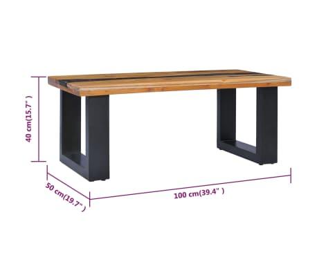 vidaXL Kavos staliukas, 100x50x40 cm, tikmedžio mediena ir sint. derva[8/13]