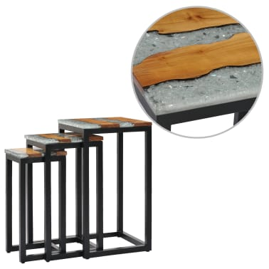 vidaXL Nesting Tables 3 pcs Solid Teak Wood and Polyresin[1/12]
