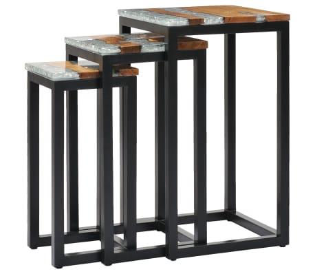 vidaXL Nesting Tables 3 pcs Solid Teak Wood and Polyresin[2/12]