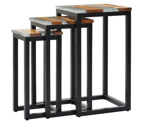 vidaXL Nesting Tables 3 pcs Solid Teak Wood and Polyresin[11/12]