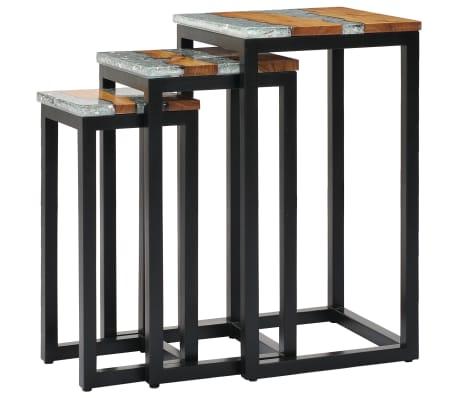 vidaXL Nesting Tables 3 pcs Solid Teak Wood and Polyresin[9/12]