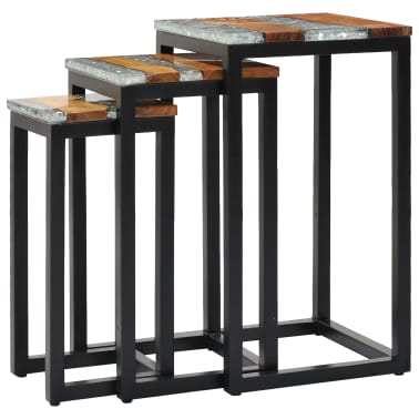 vidaXL Nesting Tables 3 pcs Solid Teak Wood and Polyresin[12/12]