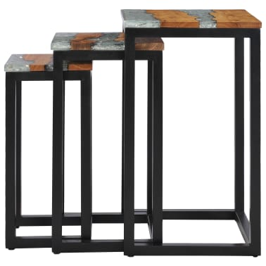 vidaXL Nesting Tables 3 pcs Solid Teak Wood and Polyresin[3/12]