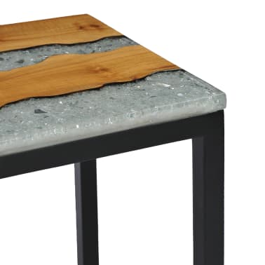 vidaXL Nesting Tables 3 pcs Solid Teak Wood and Polyresin[7/12]