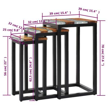 vidaXL Nesting Tables 3 pcs Solid Teak Wood and Polyresin[8/12]