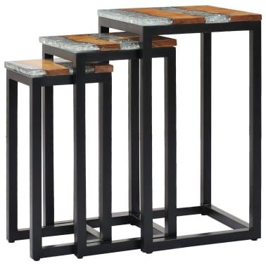 vidaXL Nesting Tables 3 pcs Solid Teak Wood and Polyresin[10/12]