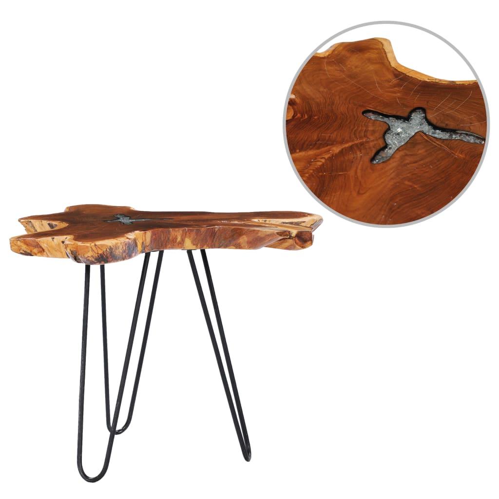vidaXL Măsuță de cafea, 70 x 45 cm, lemn masiv de tec și polirășină imagine vidaxl.ro