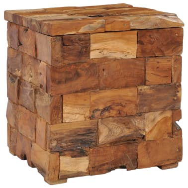 vidaXL Storage Stool Solid Teak Wood[11/11]