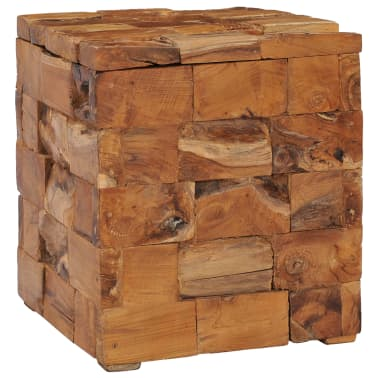 vidaXL Storage Stool Solid Teak Wood[8/11]