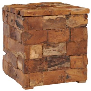 vidaXL Storage Stool Solid Teak Wood[10/11]