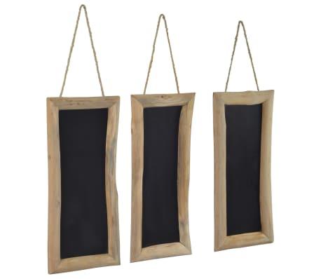 vidaXL Quadro-negro 3 pcs 30x70 cm madeira de teca