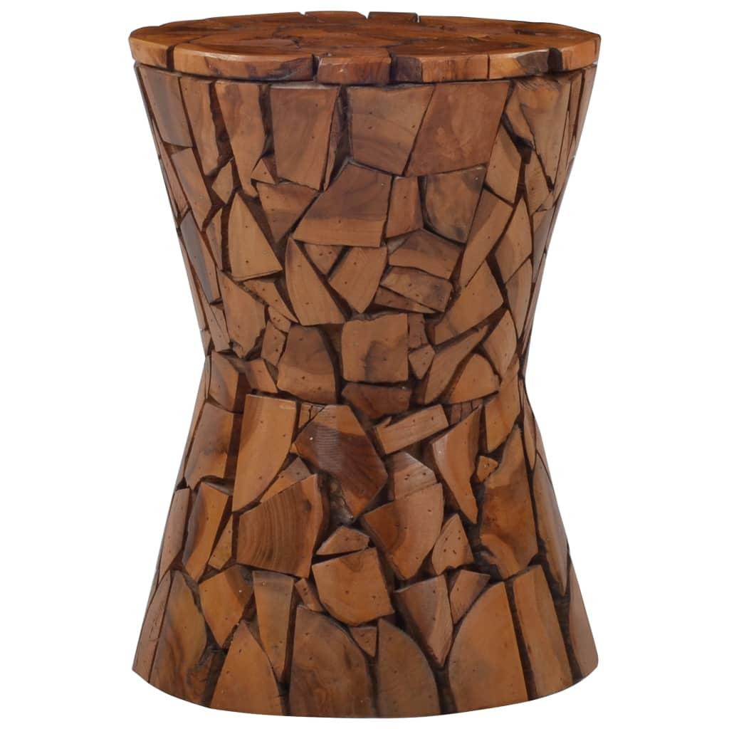 vidaXL Taburet mozaic, maro, lemn masiv de tec poza vidaxl.ro