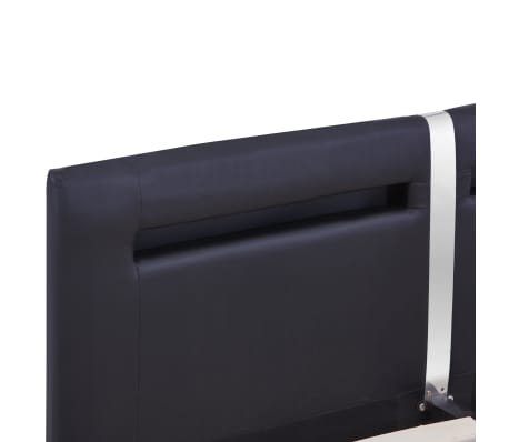 vidaXL Cadre de lit avec LED Noir Similicuir 160 x 200 cm[6/8]