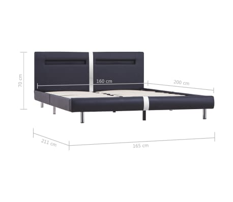 vidaXL Cadre de lit avec LED Noir Similicuir 160 x 200 cm[8/8]