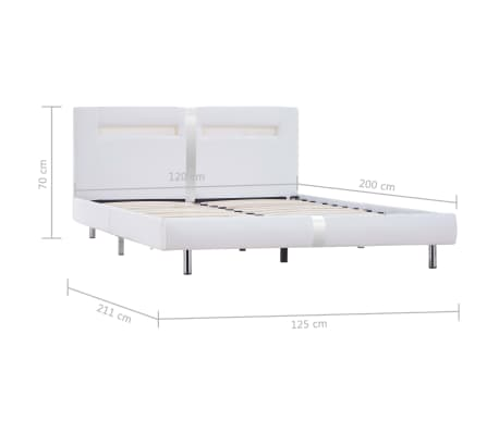 vidaXL Cadre de lit avec LED Blanc Similicuir 120 x 200 cm[8/8]