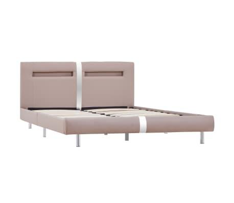 vidaXL Cadre de lit avec LED Cappuccino Similicuir 140 x 200 cm[3/8]