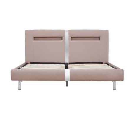 vidaXL Cadre de lit avec LED Cappuccino Similicuir 140 x 200 cm[4/8]