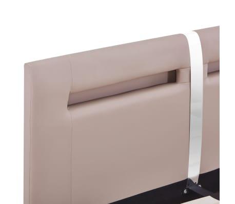 vidaXL Cadre de lit avec LED Cappuccino Similicuir 140 x 200 cm[6/8]