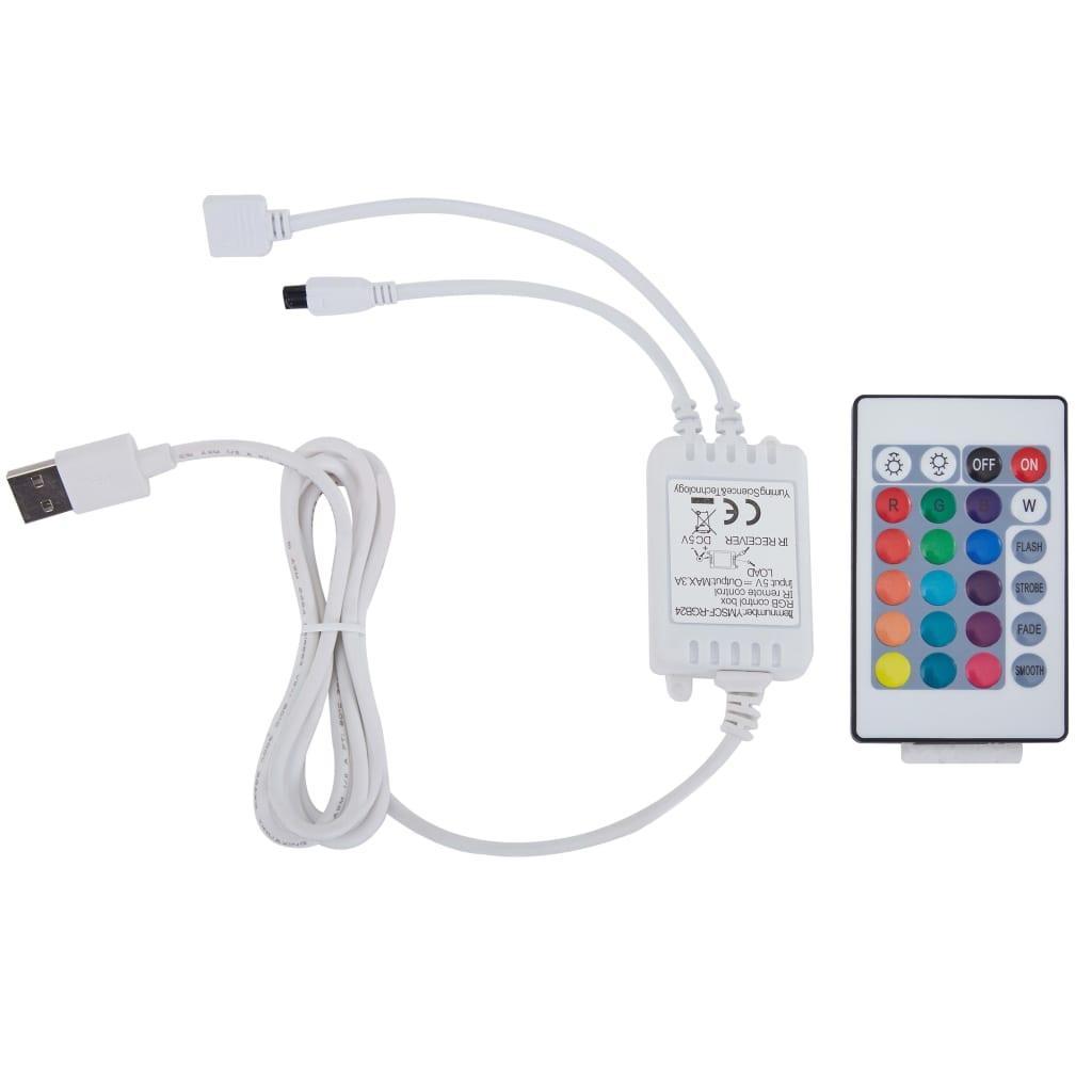 vidaXL Bedframe met LED stof lichtgrijs 180x200 cm