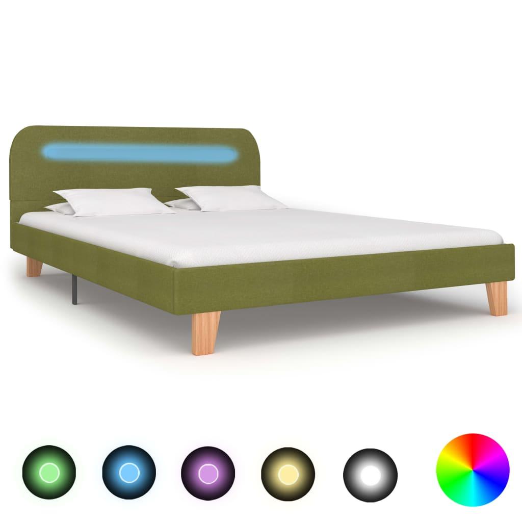 vidaXL Cadru de pat cu LED-uri, verde, 140 x 200 cm, material textil imagine vidaxl.ro