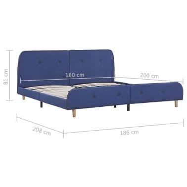 vidaXL Cadre de lit Bleu Tissu 180 x 200 cm[6/6]