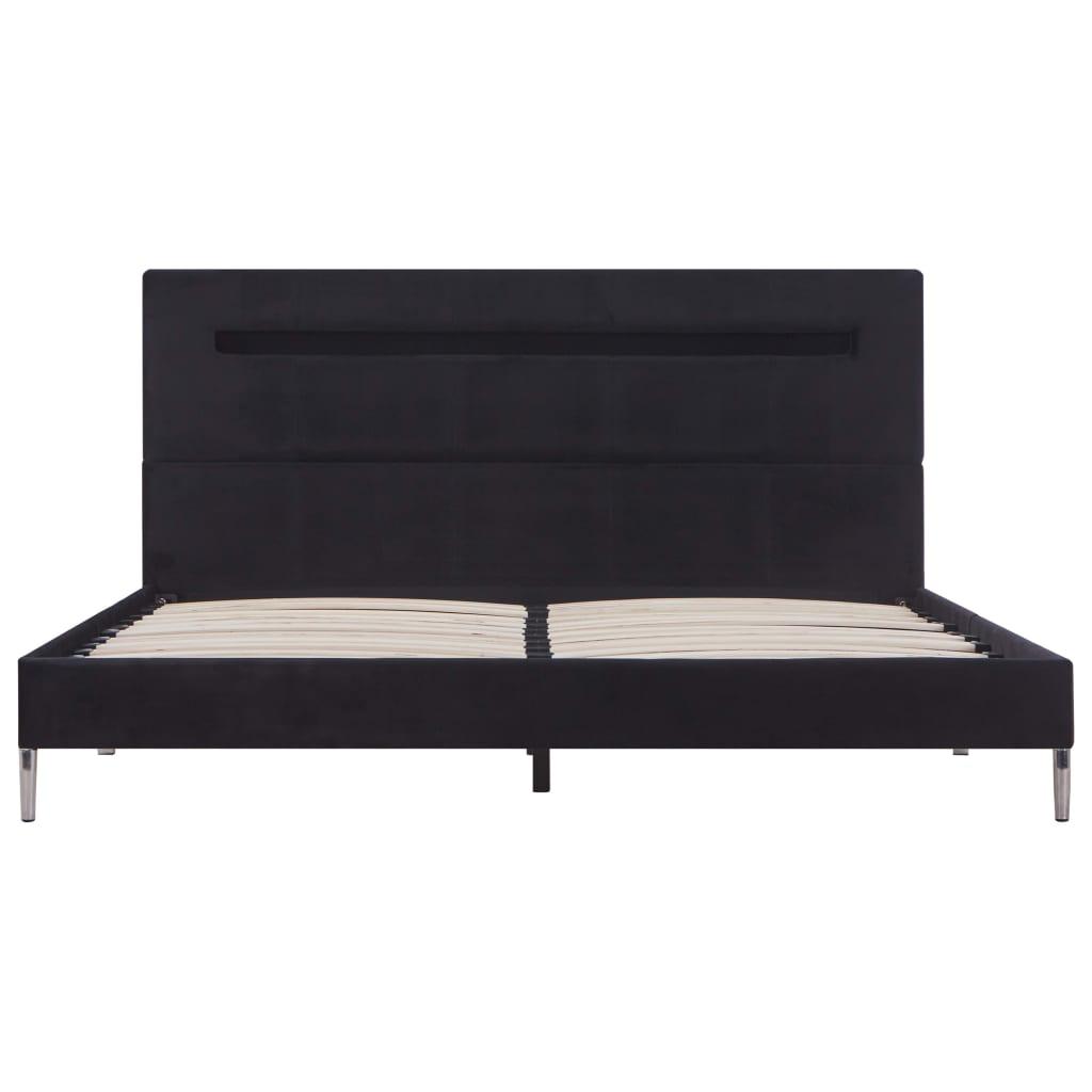 Bedframe met LED stof zwart 140x200 cm