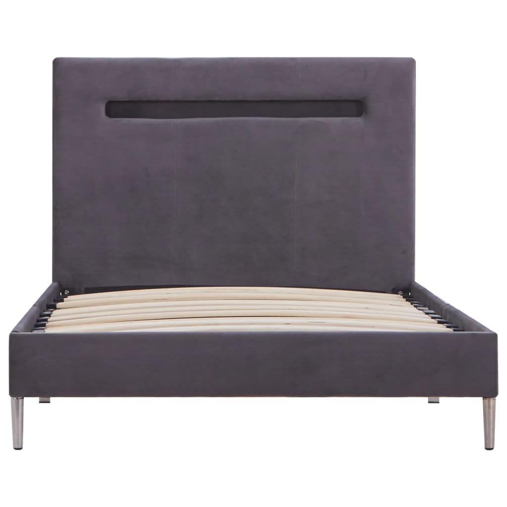 Bedframe met LED stof grijs 90x200 cm