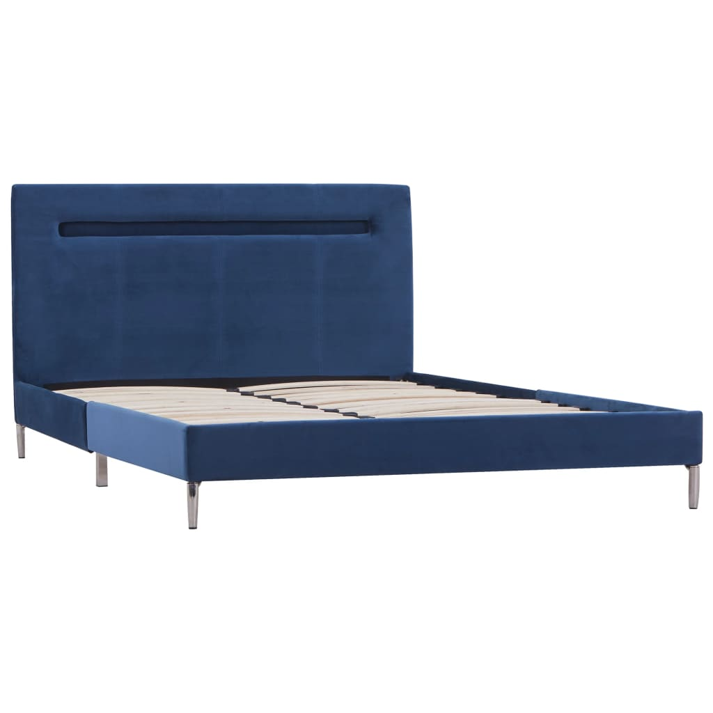 vidaXL Bedframe met LED stof blauw 120x200 cm