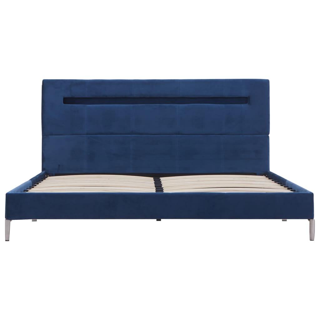 vidaXL Bedframe met LED stof blauw 140x200 cm
