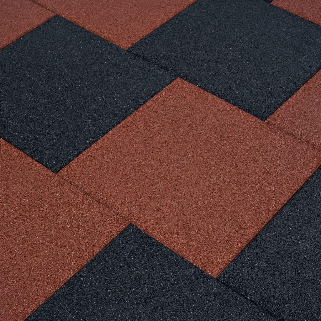 vidaXL Plăci de protecție la cădere 12 buc. roșu 50x50x3 cm cauciuc poza vidaxl.ro