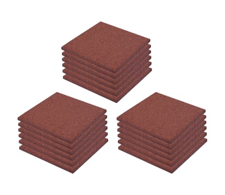 vidaXL Plytelės apsaug. nuo kritimų, 18vnt., raudonos, 50x50x3cm, guma[2/6]