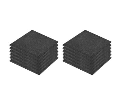vidaXL Plytelės apsaug. nuo kritimų, 12vnt., juodos, 50x50x3cm, guma[2/6]